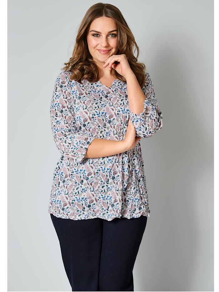 Janet & Joyce Shirt mit floralem Druck, Weiß/Blau/Rosé