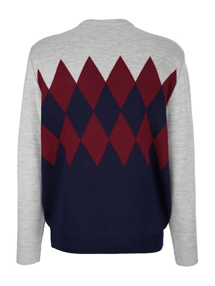 Pullover mit Rhombenstrickmuster