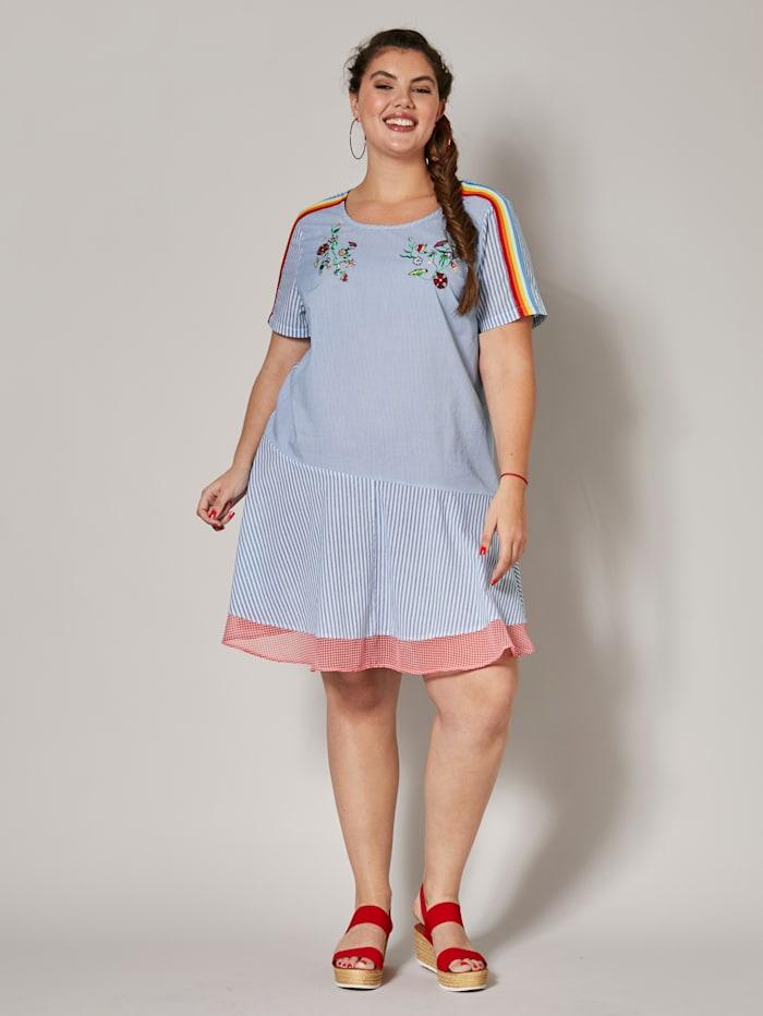 Kleid gestreift mit Stickerei