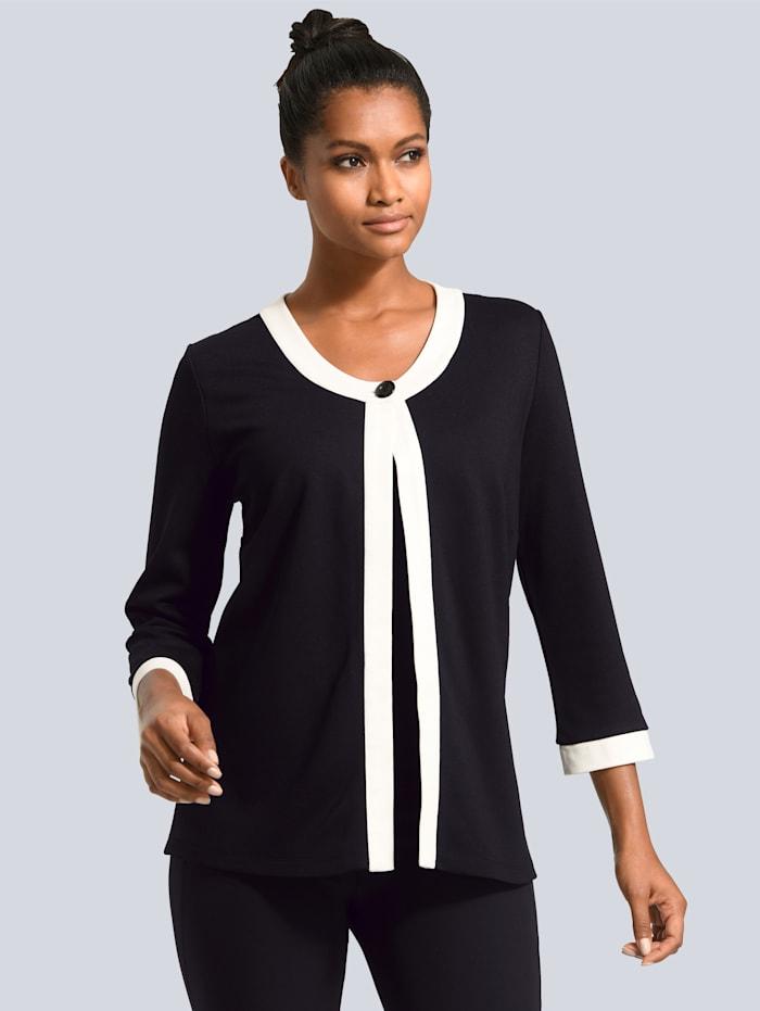 Alba Moda Vestje met sierbiesjes, Zwart/Offwhite