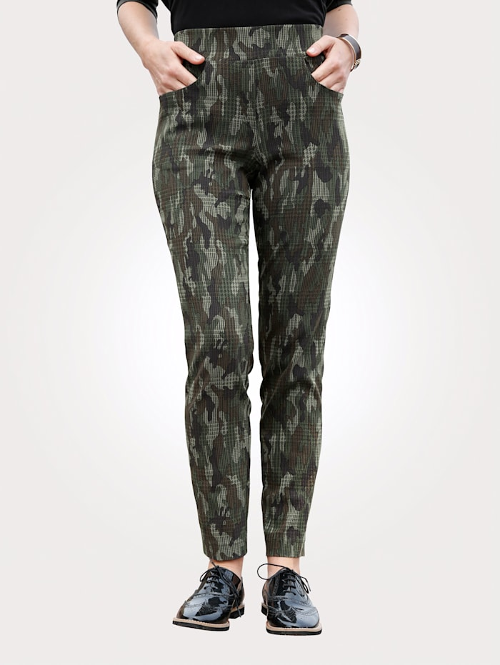 MONA Instapbroek met camouflagepatroon, Kaki/Bruin/Ecru