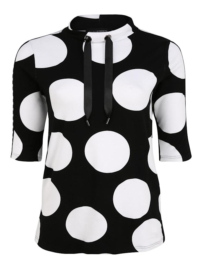 Doris Streich 3/4-Arm-Shirt mit Punkten Bänder, schwarz/weiß