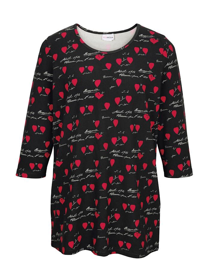 Shirt met hartjesmotief en opschrift