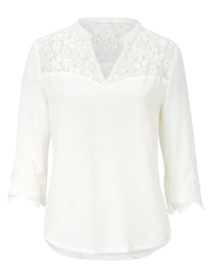 Marjo Leder & Tracht Spitzenshirt, Off-white
