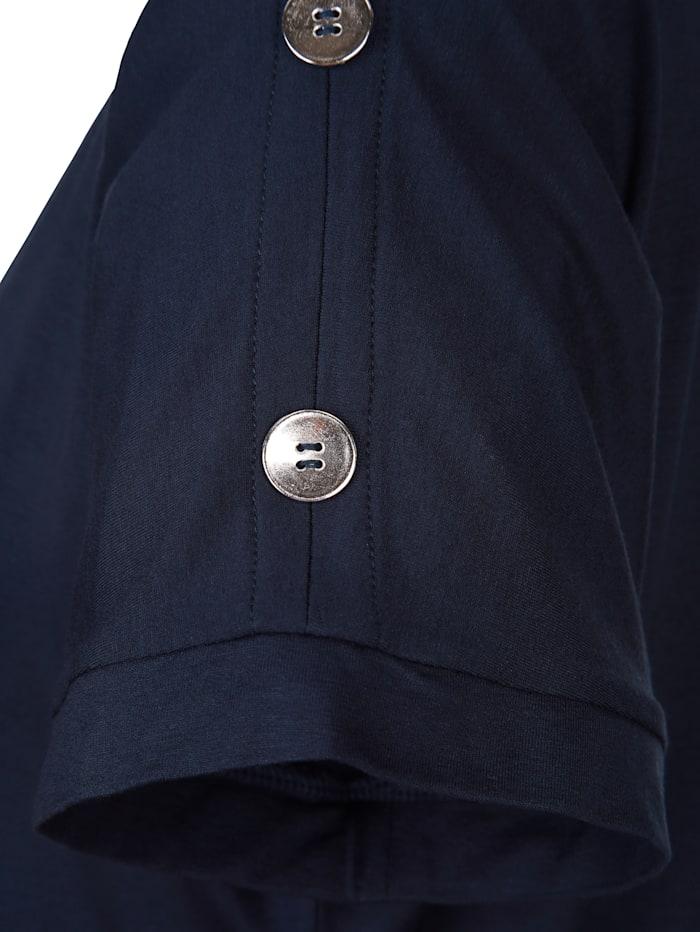 MIAMODA Shirt mit dekorativen Knöpfen am Ärmel, marineblau