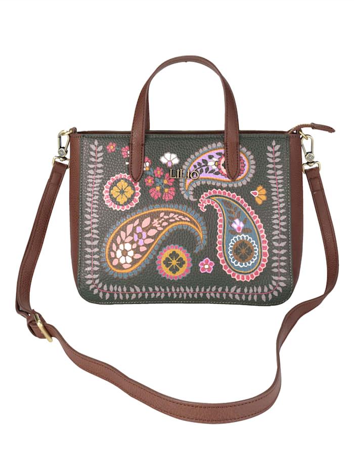 Lilio` Handbag with a main handle and strap, Green-Multi