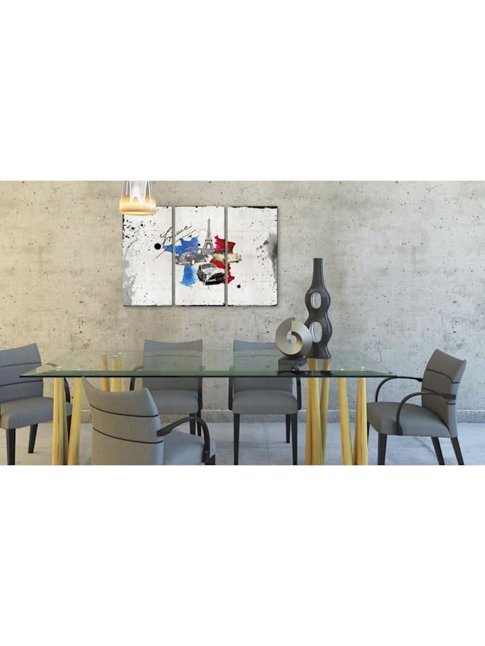 Wandbild Französischer Reisender - Triptychon