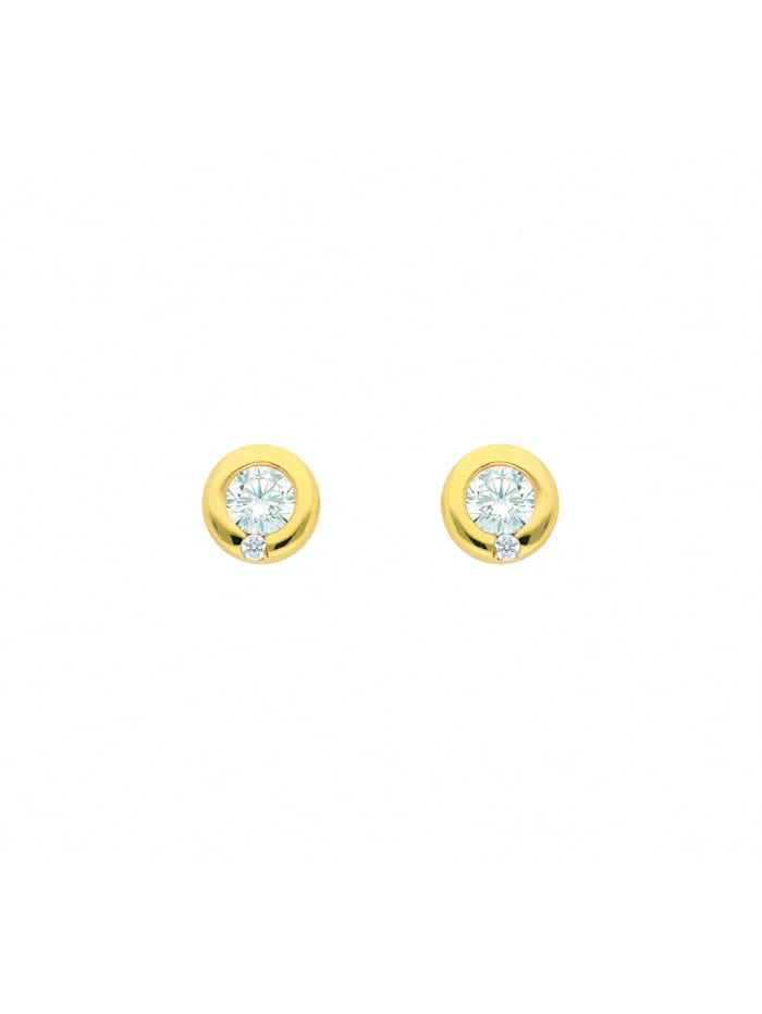 1001 Diamonds Damen Goldschmuck 585 Gold Ohrringe / Ohrstecker mit Zirkonia Ø 6,9 mm, gold