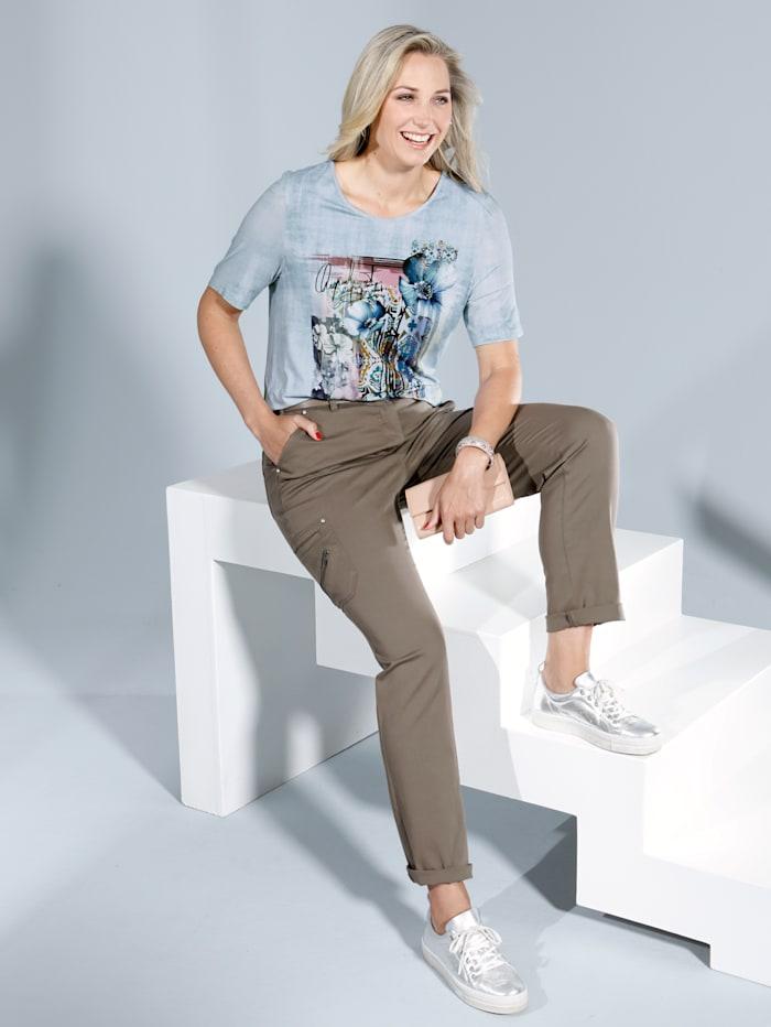 Shirt rundum mit leichtem Druckmuster in Batik-Optik