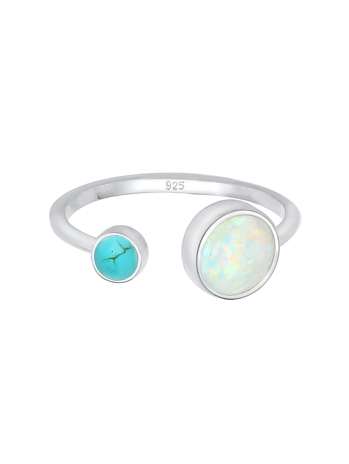 Ring Geo Opal Howlith Boho Offen Verstellbar 925 Silber