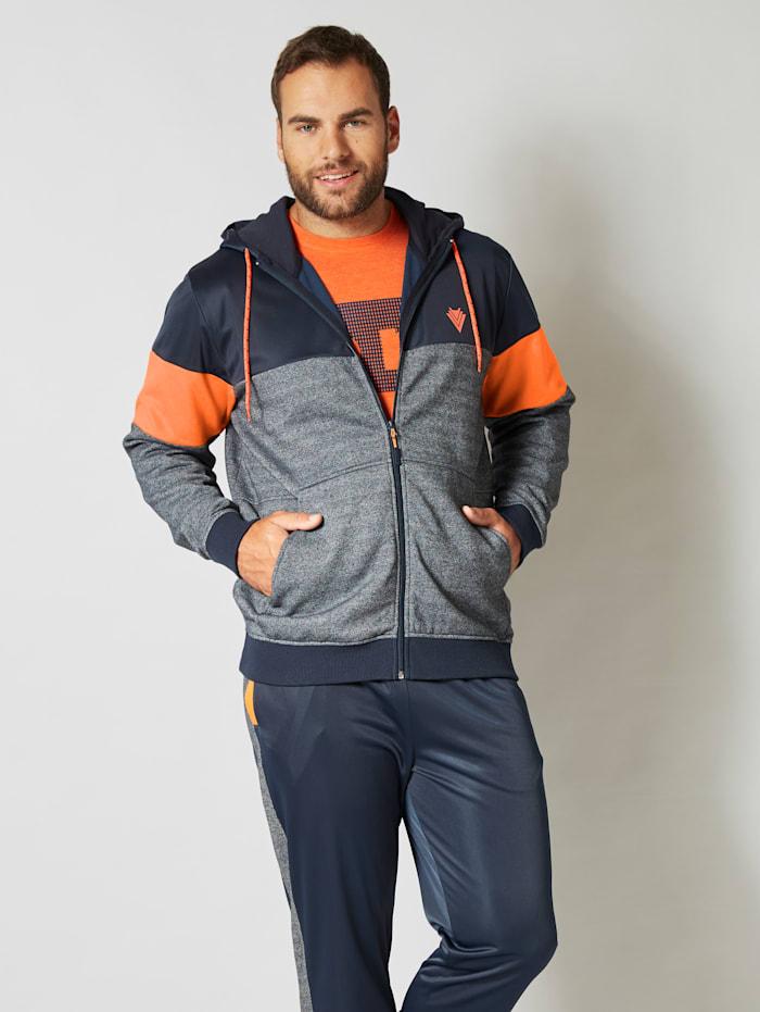 Men Plus Sweatjacke Schnelltrocknend, Marineblau/Orange