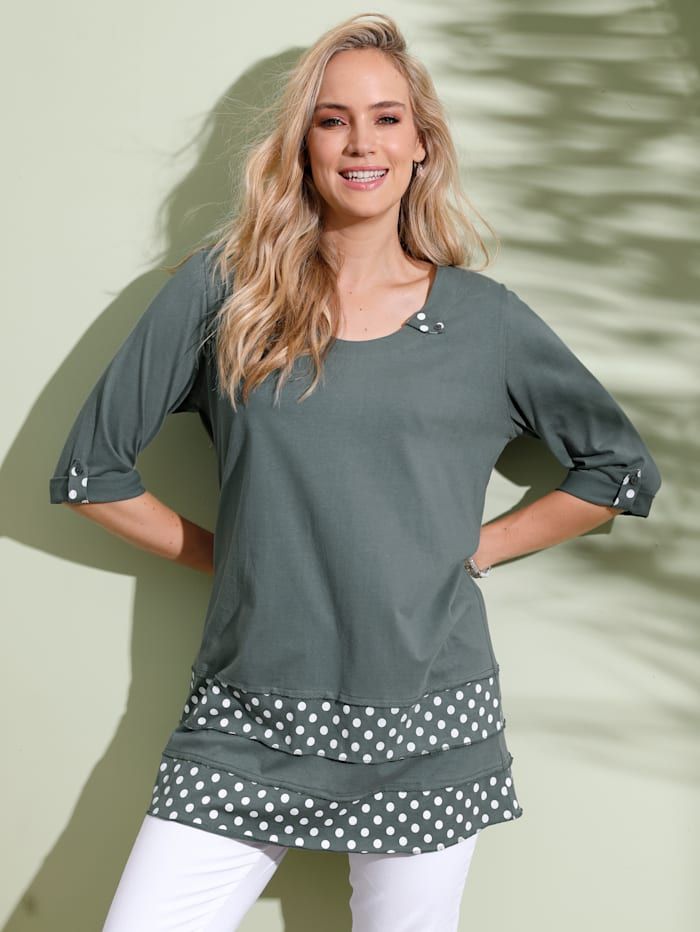 MIAMODA T-shirt à empiècements mode à la base, Vert