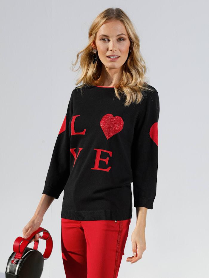 AMY VERMONT Pull-over avec inscription LOVE, Noir/Rouge