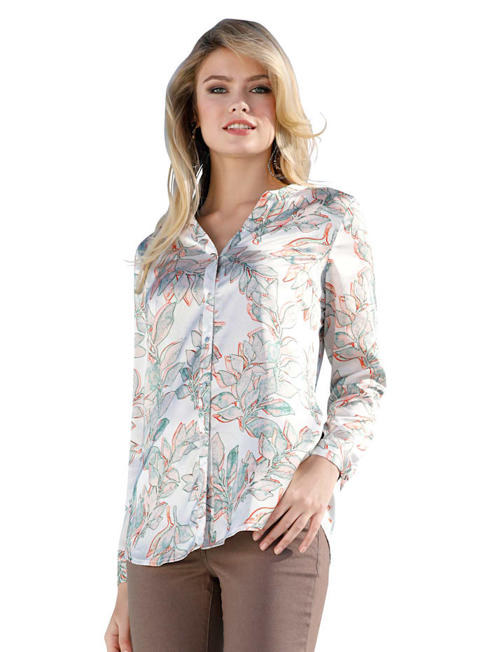 AMY VERMONT Bluse im Alloverdruck, Weiß/Multicolor