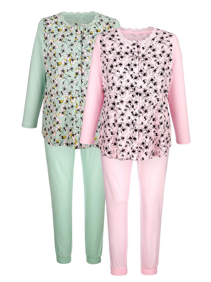 Harmony Pyjama's per 2 stuks met romantische bloemenprint, Lichtgroen/Roze