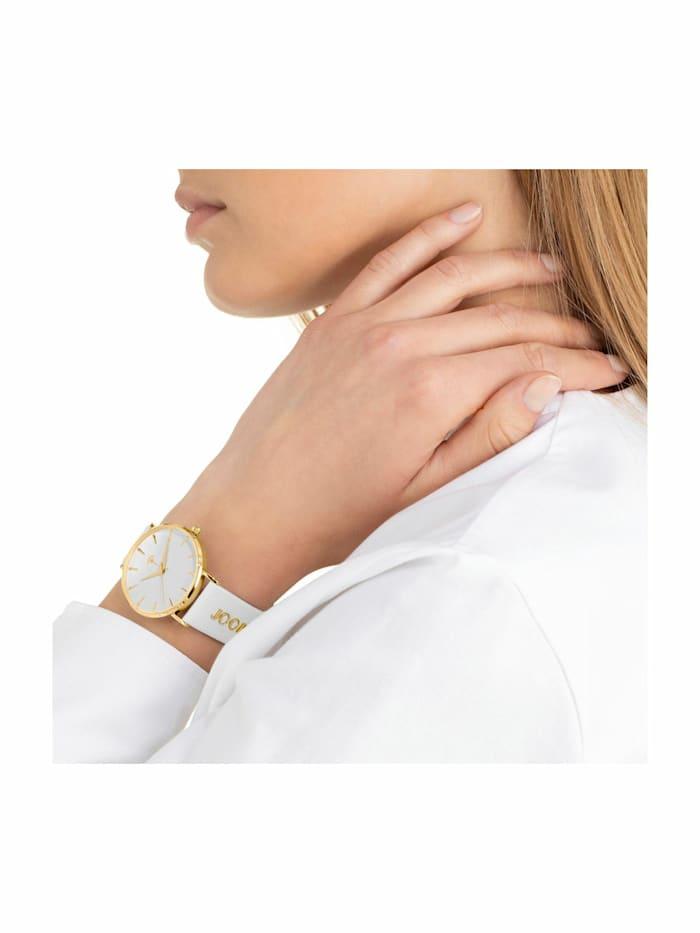 Quarzuhr für Damen, Edelstahl IP Gold und Leder