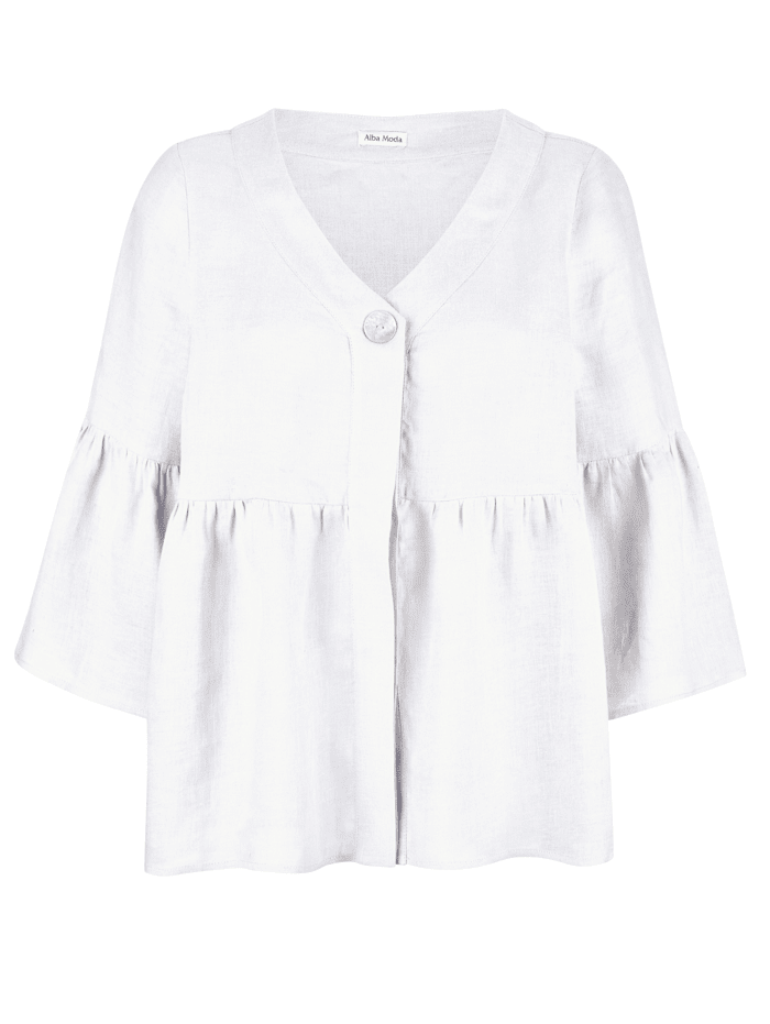 Alba Moda Blouse van zuiver linnen, Wit