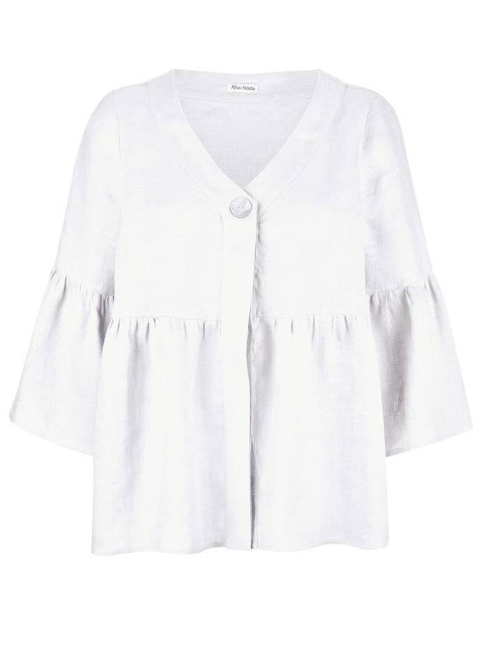 Alba Moda Bluse aus reinem Leinen, Weiß