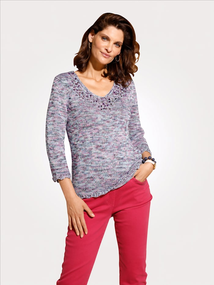 MONA Pullover mit dekorativem Ausschnitt, Rosé/Türkis/Schwarz