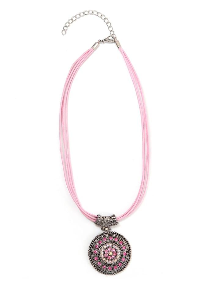Collezione Alessandro Kurze Kette Jette mit runden Anhänger, rosa