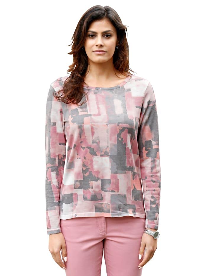 AMY VERMONT Pullover mit grafischem Druck allover, Rosé/Grau