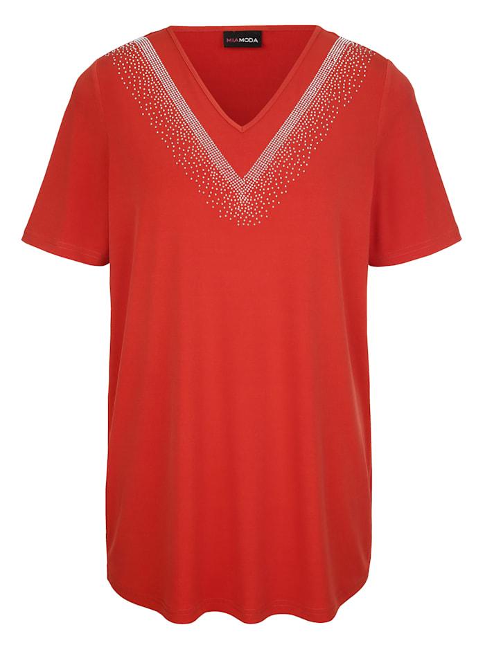 MIAMODA Shirt met glinsterende siersteentjes, Koperkleur
