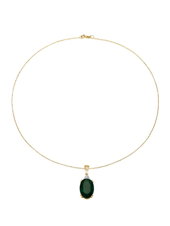 KLiNGEL Pendentif émeraude et chaîne, Vert