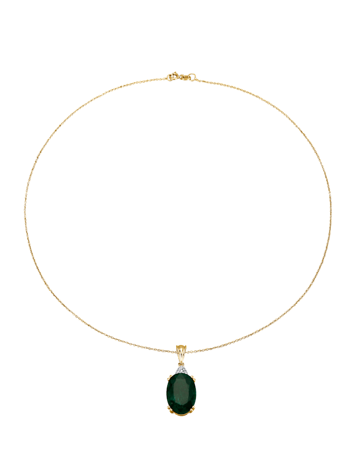 Pendentif émeraude et chaîne, Vert