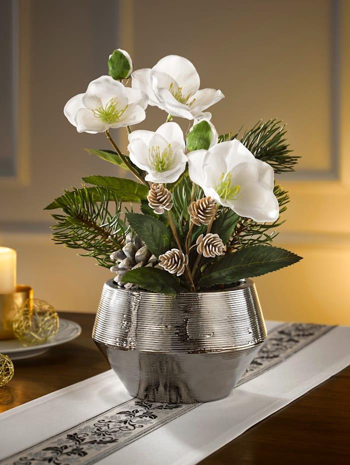 Globen Lighting Julrosor i silverfärgad kruka, vit