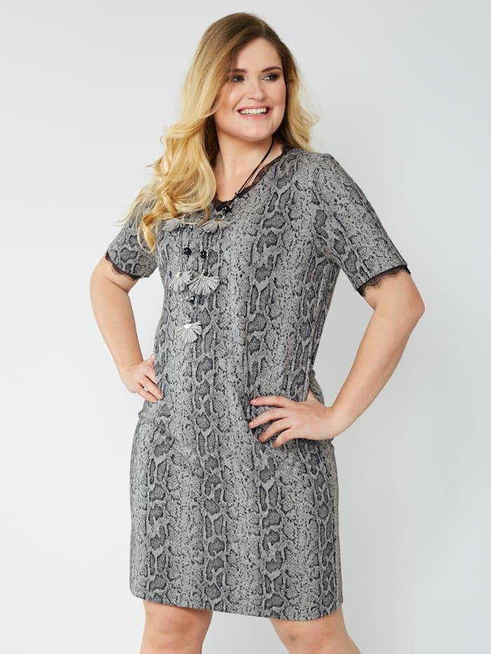 Sara Lindholm Jersey jurk met jacquard, Grijs/Zwart