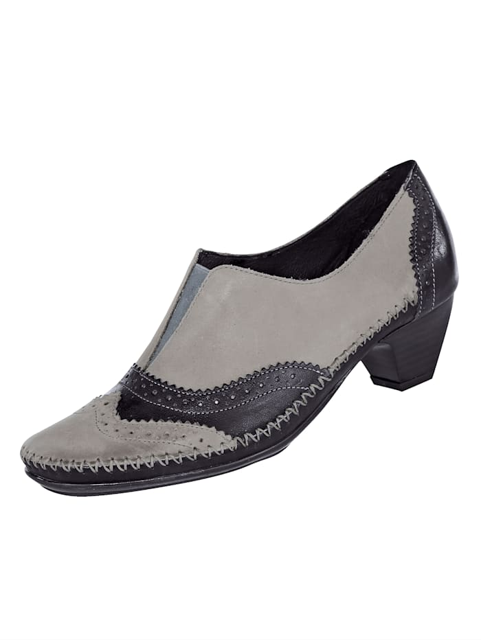 Naturläufer Court shoes with fashionable lyra perforation, Grey