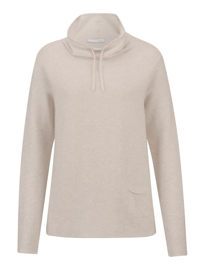 OUI Pullover mit großem Kragen, Wollweiß