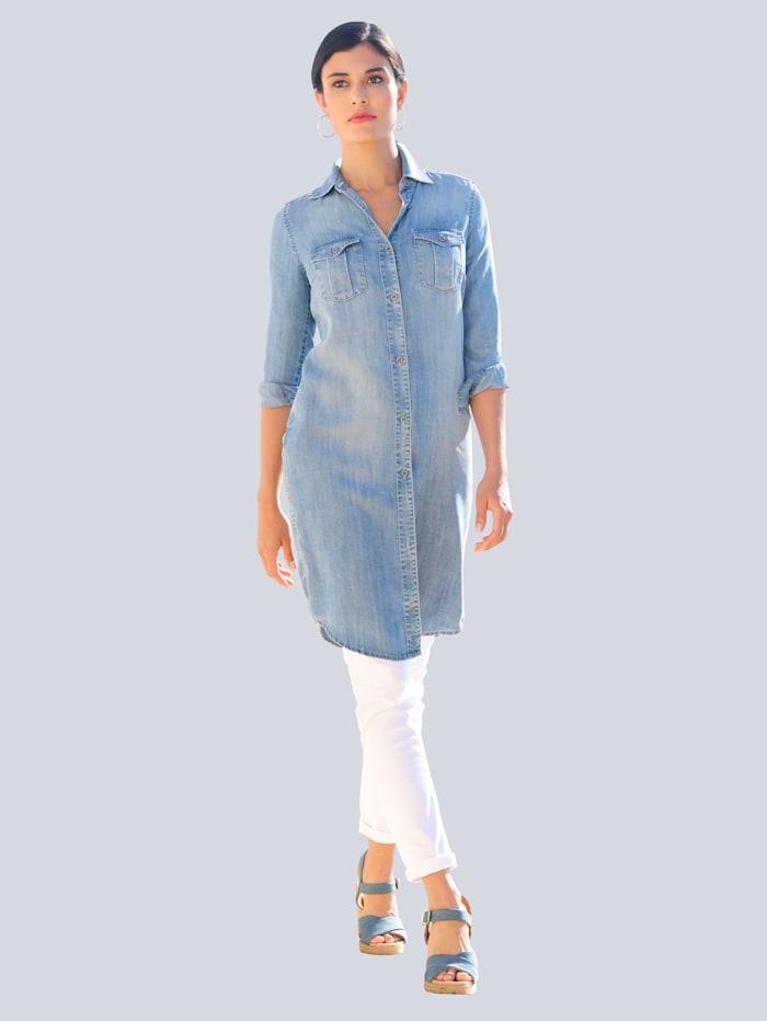 Alba Moda Kleid in legerer Hemdblusenform, Hellblau