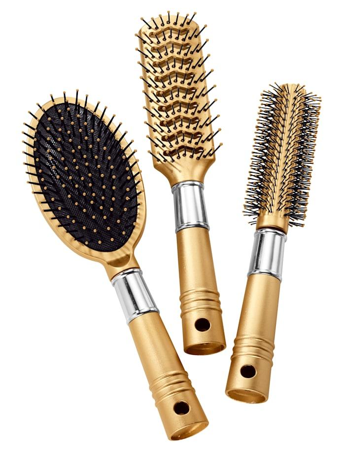 Lot de brosses à cheveux en tons doré et argenté, coloris doré