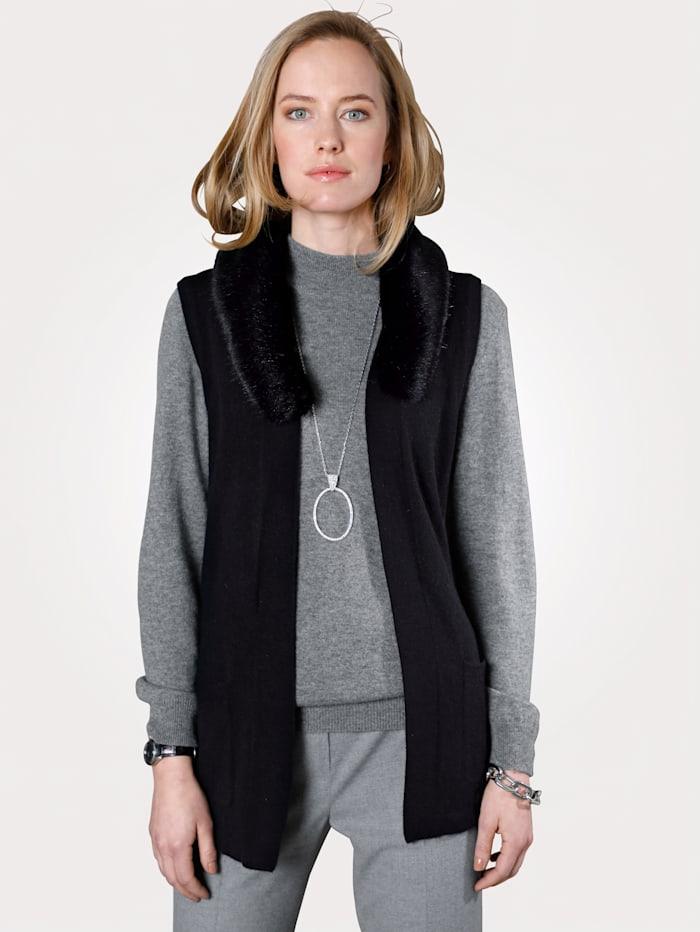 Cashmere gilet with detachable faux fur trim