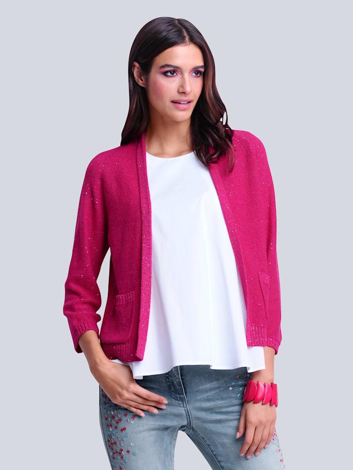 Alba Moda Strickjacke mit kleinen eingestrickten Pailletten allover, Pink/Silberfarben