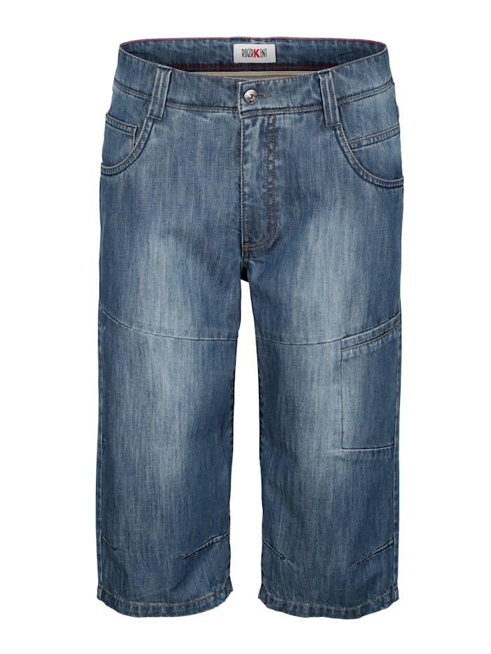 Roger Kent Jeansbermuda mit extra Tasche, Blue stone
