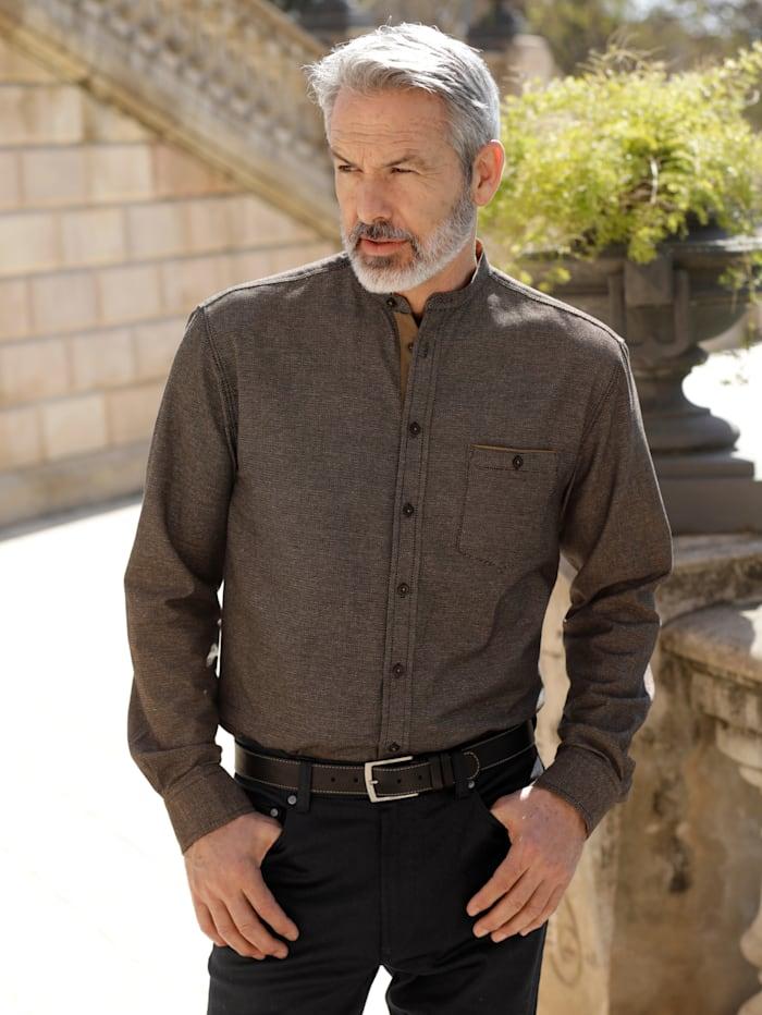 BABISTA Overhemd met modieuze opstaande kraag, Bruin