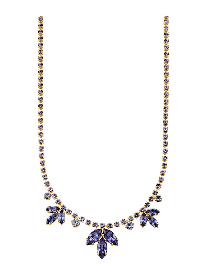 Golden Style Collier Met tansanietkleurige kristallen, Blauw