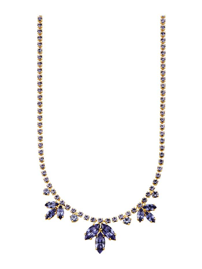 Golden Style Collier Mit tansanitfarbenen Kristallen, Blau