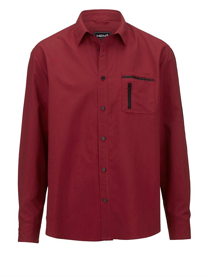 Men Plus Skjorta med uppvikbara ärmar, Bordeaux/Svart