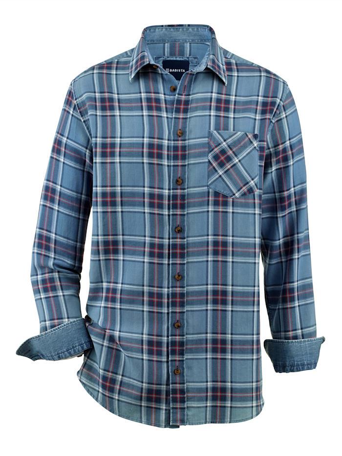 BABISTA Overhemd in jeanslook, Jeansblauw/Rood