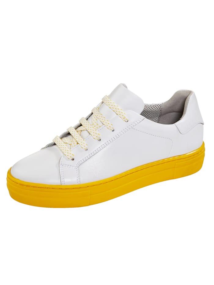 Liva Loop Sneaker met contrastkleurige plateauzool, Wit/Geel
