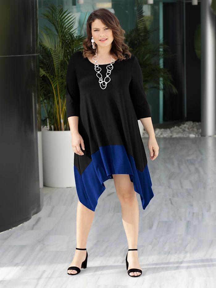 Sara Lindholm Jerseykleid mit Zipfelsaum, schwarz/royal