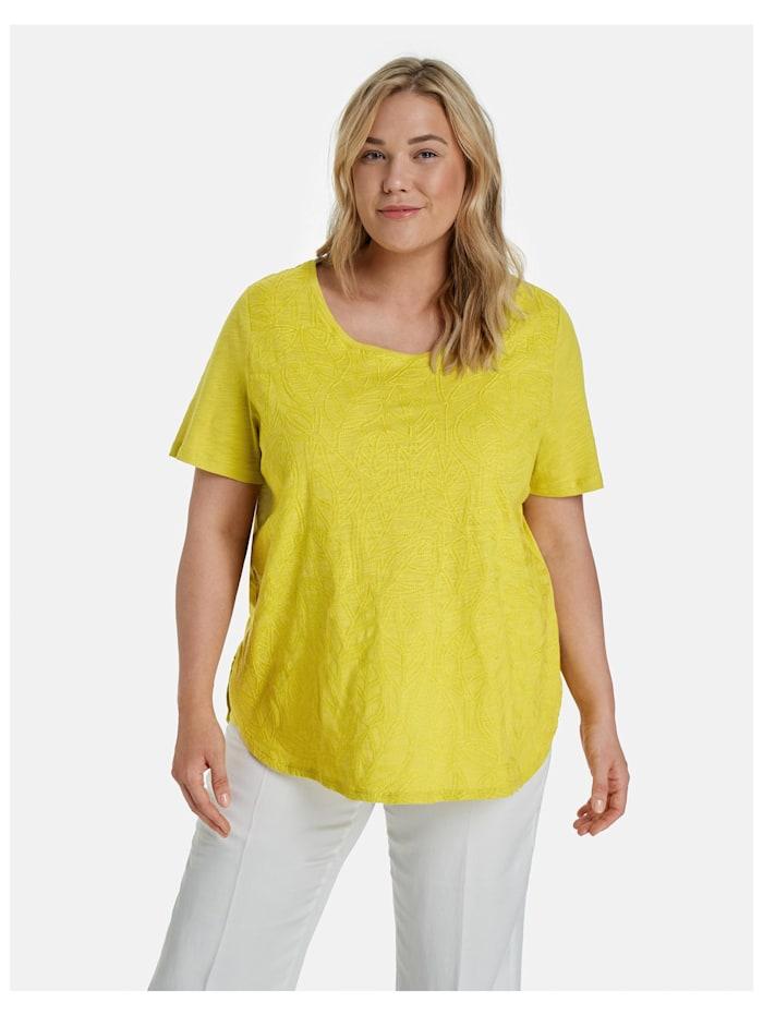 Samoon T-Shirt mit Stickerei, Citronella gemustert