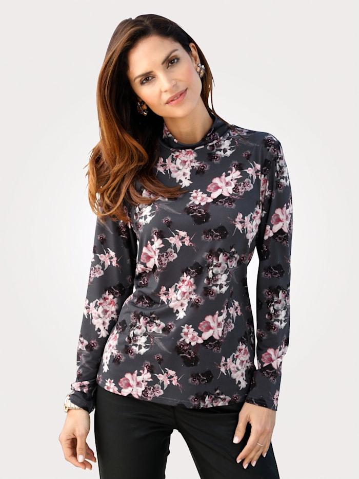 MONA Shirt mit Floraldessin, Anthrazit