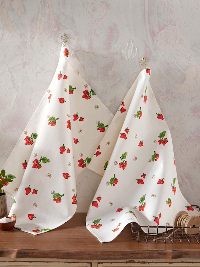 Kracht Set van 2 theedoeken Aardbeien, wit/rood