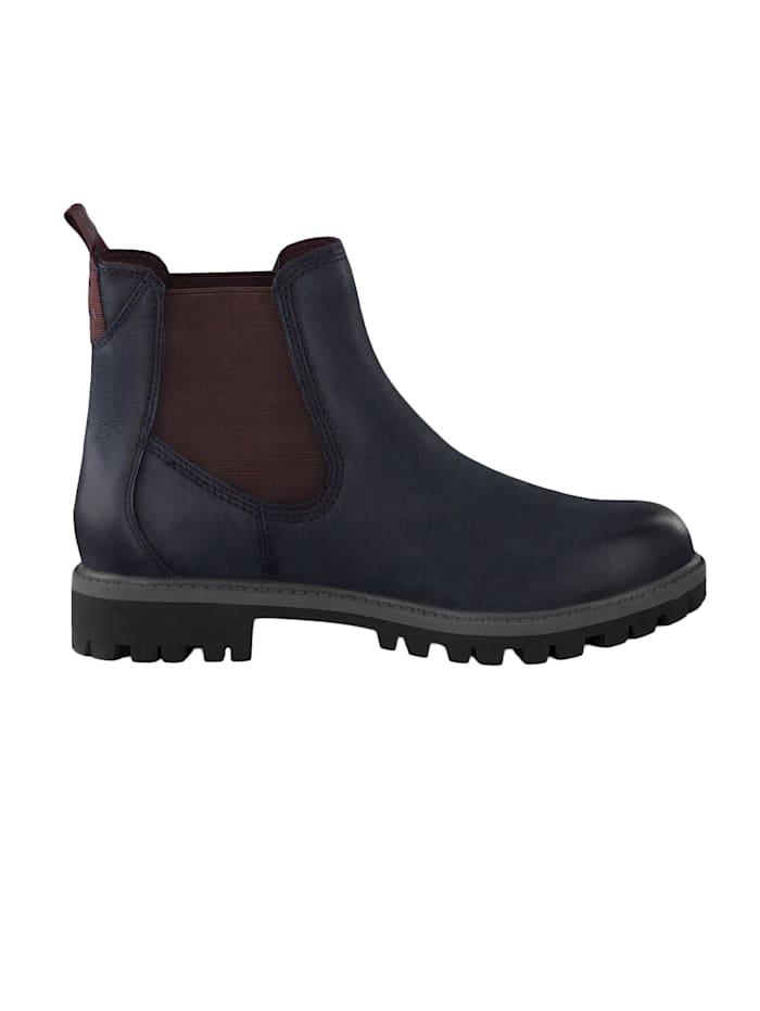 1-25401-23 817 Damen Stiefelette Chelsea Boots Navy/Bordeaux Blau mit TOUCH-IT Sohle