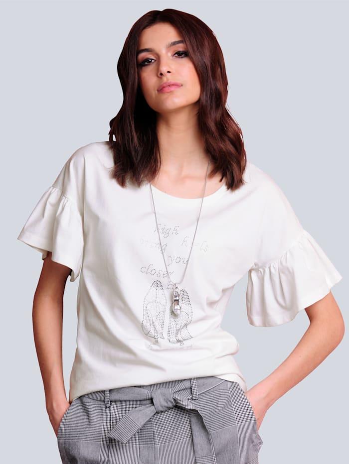 Alba Moda Shirt mit strassverziertem Motiv, Weiß