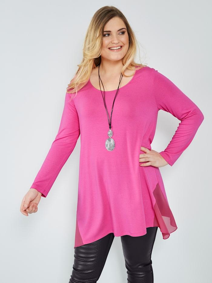 Sara Lindholm Jersey-Tunika mit Chiffon-Einsätzen, pink 17-2127TCX
